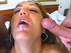 Oiled lewd mature has fun with two men in gangbang