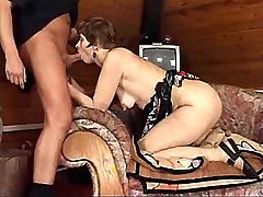 Horny mature has hot fuck from behind on big chair