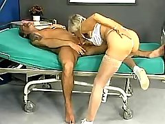 Aged ledy doctor in white stockings giving blowjob