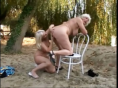 Blond grannies eating hot pussy outdoors