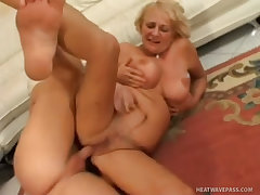 Busty granny crazy fucked by guy