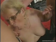Big tits granny wants two large cocks
