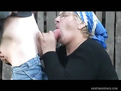 Horny old whore rides prick in wet backyard sex bad granny