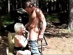 Mature sucks and has fuck outdoor