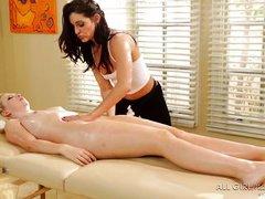 hot blonde babe enjoys an oily kinky massage