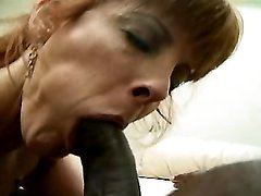 Mature sucks black cock n gets cum