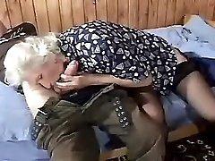 Elder mature does blowjob and fucks